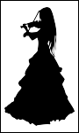 Silhouette of a girl playing violin